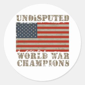 USA, Undisputed World War Champions Round Sticker