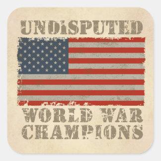 USA, Undisputed World War Champions Square Sticker