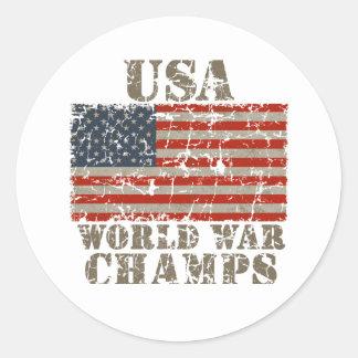 USA, World War Champions Round Sticker