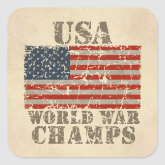 USA, World War Champions Square Sticker