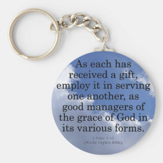 Using Gifts from God 1 Peter 4:10 Basic Round Button Key Ring