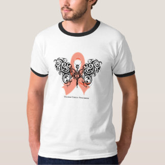 Uterine Cancer Tribal Butterfly Ribbon T-shirts