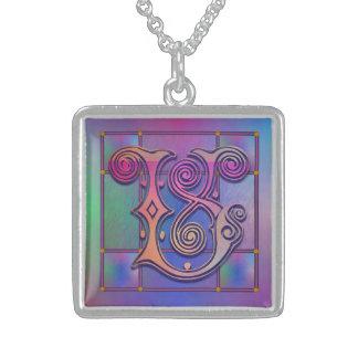 """V Initial Monogram """"Blue Rain Glass"""" Necklaces"""