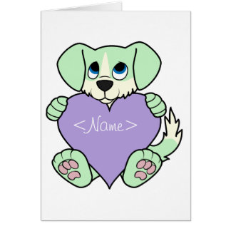 Valentine Green Dog - Blaze & Light Purple Heart Greeting Card