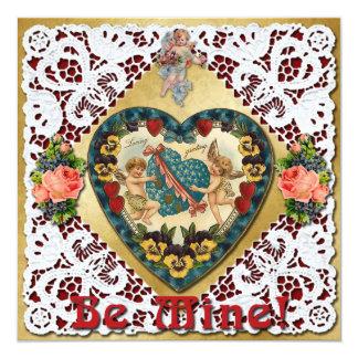 Valentine Heart with Lace - Vintage Victorian 13 Cm X 13 Cm Square Invitation Card