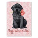 Valentine Rose Black Lab Greeting Card