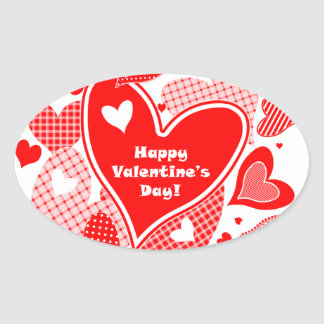 Valentine's Hearts Oval Sticker