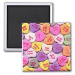 Valentine's Day Candy Hearts Square Magnet