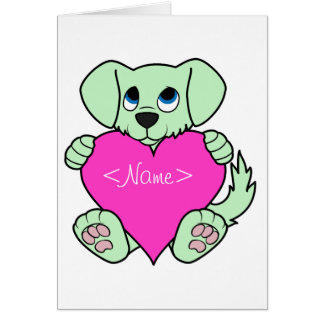 Valentine's Day Green Dog with Pink Heart Greeting Card