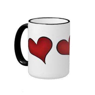 Valentine's Day red hearts Ringer Mug