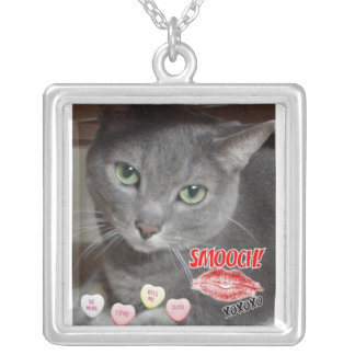 Valentine's Day Russian Blue Gray Cat Square Pendant Necklace