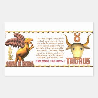 Valxart 1964 2024 Wood Dragon zodiac Taurus Rectangular Sticker