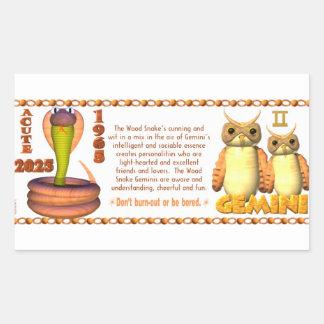 Valxart 1965 2025 Wood Snake zodiac Gemini Rectangular Sticker