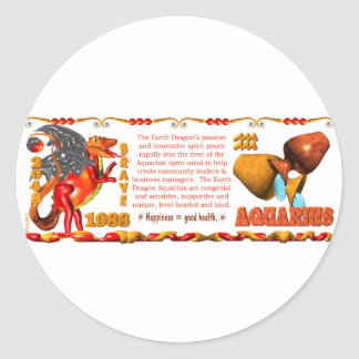 ValxArt Zodiac Earth Dog Leo born 1988 2028 Round Sticker