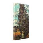 Van Gogh Cypresses and Two Women, Vintage Fine Art Canvas Print