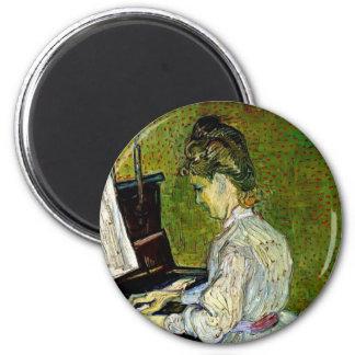 Van Gogh - Marguerite Gachet At The Piano 6 Cm Round Magnet