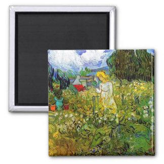 Van Gogh - Marguerite Gachet In The Garden Square Magnet