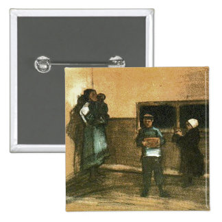 Van Gogh Public Soup Kitchen Fine Art 15 Cm Square Badge