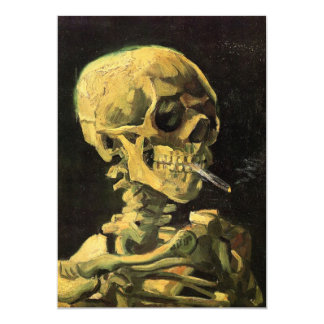 Van Gogh Skull with Burning Cigarette, Vintage Art 13 Cm X 18 Cm Invitation Card