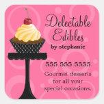 Vanilla Cherry Cupcake Bakery Square Sticker