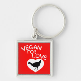 Vegan for Love Silver-Colored Square Key Ring