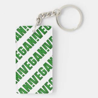 Vegan Green Stripes Double-Sided Rectangular Acrylic Key Ring