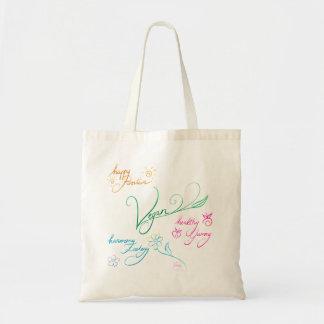 Vegan & happy lifestyle budget tote bag