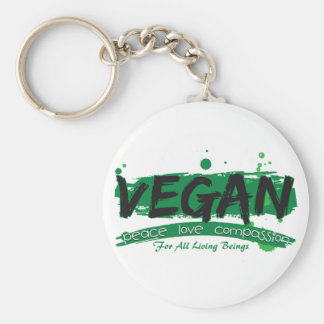 Vegan Peace Love Compassion Basic Round Button Key Ring