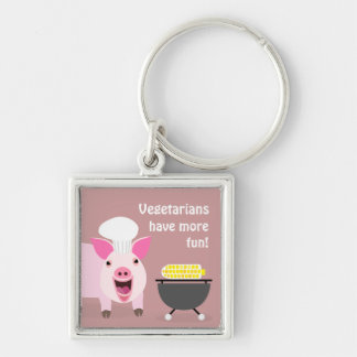 Vegetarian Pig Keychaing Silver-Colored Square Key Ring