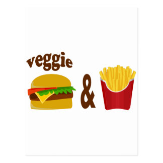 Veggie Burger and Fries Postcard