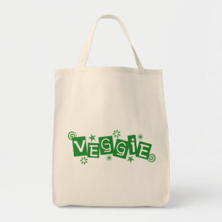 Veggie, For Vegetarians and Vegans Grocery Tote Bag
