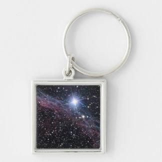 Veil Nebula Silver-Colored Square Key Ring