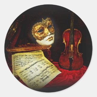 Venetian Masks collection - Musical night Round Sticker
