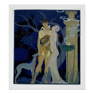 Venus and Adonis (colour litho) Poster