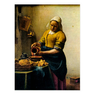 Vermeer's Maidservant Pouring Milk (circa 1660) Postcard
