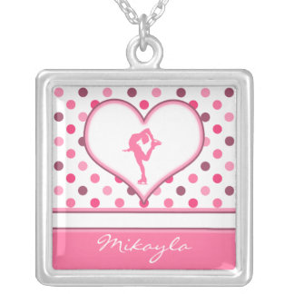 Very Cherry Polka-Dots Lots of Pink Figure Skater Square Pendant Necklace