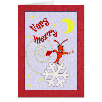 Very Merry Crawfish / Lobster Christmas Greeting Card