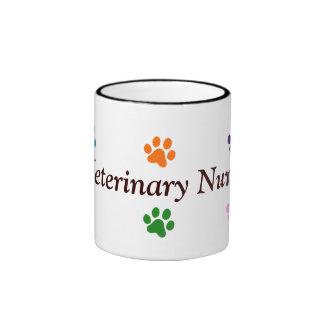 Veterinary Nurse-Colorful Paw Prints Ringer Mug