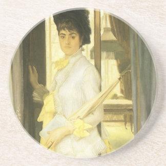 Victorian Art, Portrait of Miss Lloyd by Tissot Beverage Coasters