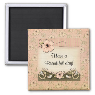 Victorian Blossoms Pearls Fridge Magnet