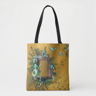 Victorian Butterscotch Teal frame butterfly Tote Bag