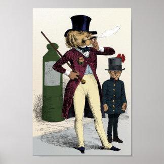 Victorian dandy lion smoking cigar poster