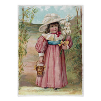 Victorian Girl with Easter Lilies for Grandma Poster