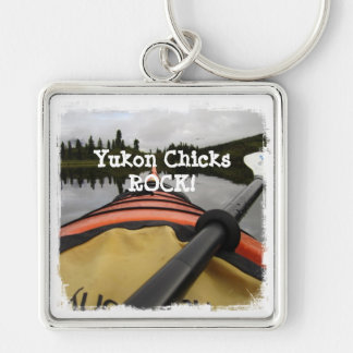 View From My Kayak; Yukon Chicks ROCK Silver-Colored Square Key Ring