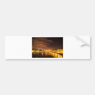 view of paris france at night and the Seine river Bumper Sticker
