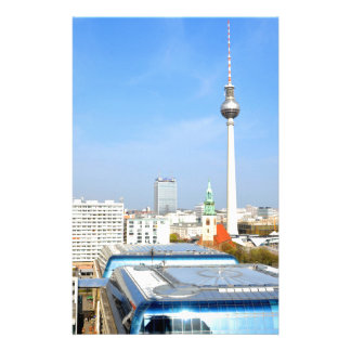 View of the Television Tower in Berlin, Germany Customized Stationery