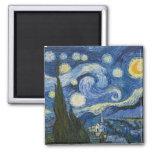 Vincent Van Gogh's Starry Night Square Magnet
