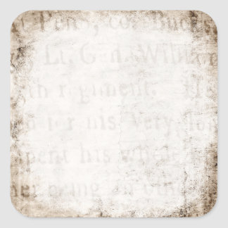 Vintage 1700s Tan Brown Text Parchment Paper Blank Square Sticker
