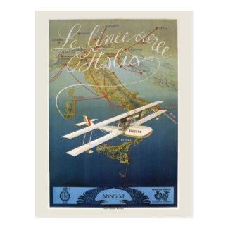 Vintage 1920s island plane shuttle Italian travel Postcard