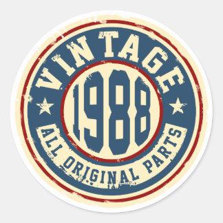 Vintage 1988 All Original Parts Round Sticker